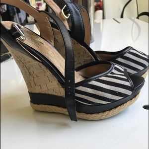 Black and white wedge shoes